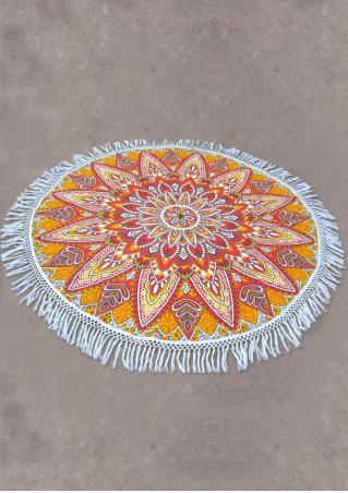 Mandala Sunflower Round Beach Blanket
