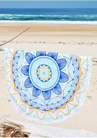 Multicolor Flower Round Beach Blanket