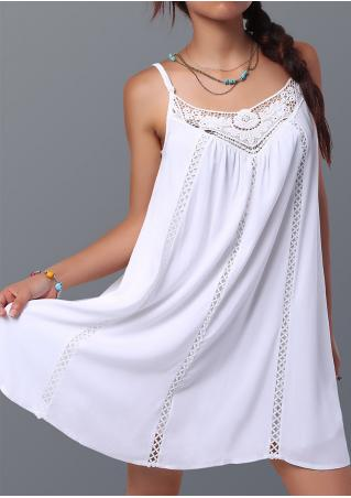 Solid Lace Splicing Strap Dress Without Necklace