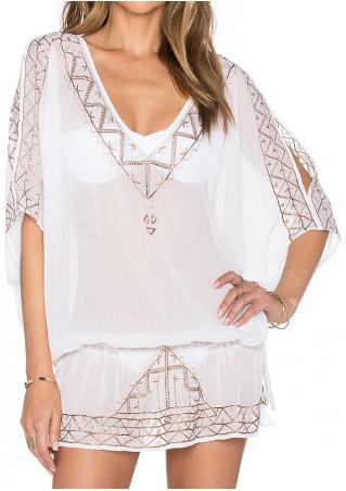 Embroidery Chiffon Beach Cover Up