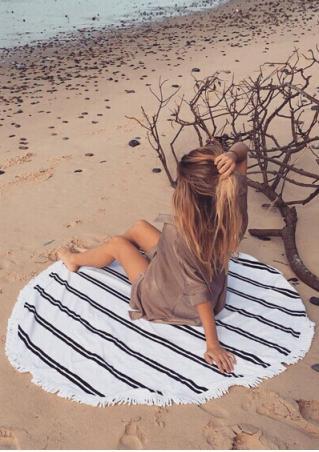 Striped Tassel Round Beach Blanket