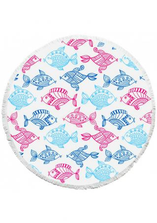 Fish Turtle Printed Round Beach Blanket