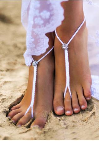 Rhinestone Braided Barefoot Sandals