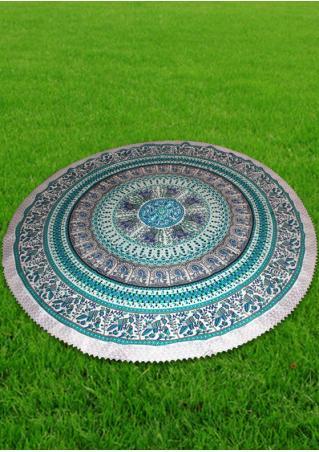 Mandala Printed Lace Round Beach Blanket