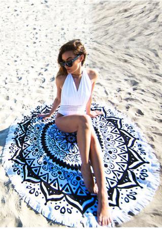 Printed Tassel Round Beach Blanket