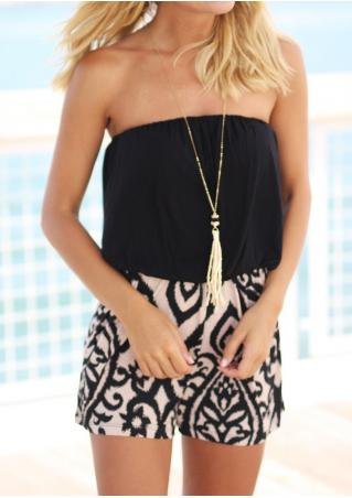 Printed Fashion Strapless Romper Without Necklace