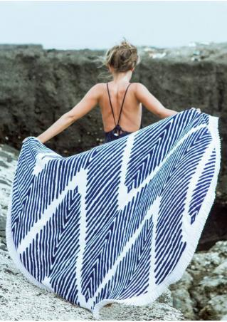 Zigzag Printed Round Beach Blanket