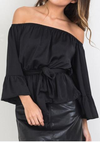 Solid Ruffled Slash Neck Fashion Blouse With Belt