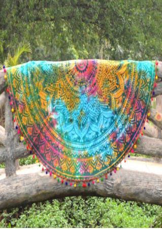 Mandala Tie Dye Printed Round Beach Blanket