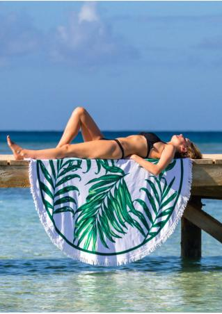 Palm Leaf Printed Round Beach Blanket