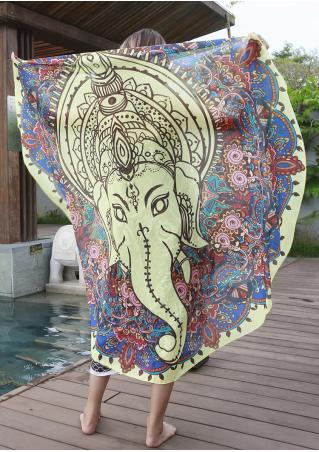 Mandala Elephant Totem Round Beach Blanket