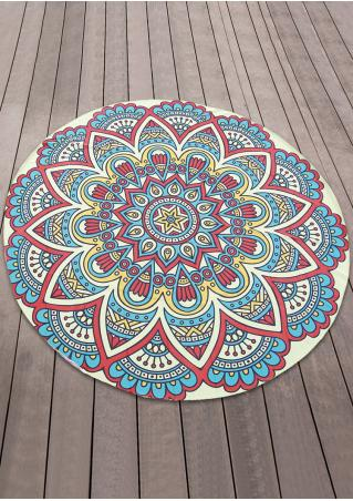 Mandala Flower Butterfly Round Beach Blanket