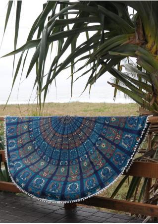 Mandala Printed Round Blanket