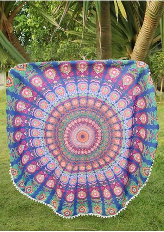 Mandala Peacock Printed Round Blanket