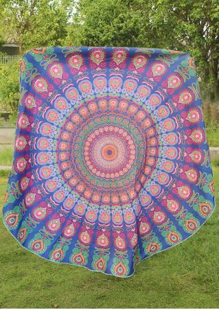 Mandala Peacock Round Blanket