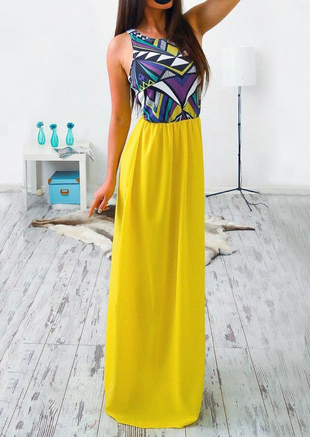 Multicolor Printed Splicing Casual Maxi Dress - Bellelily