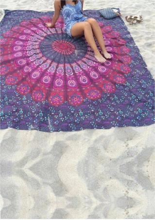 Mandala Peacock Rectangle Beach Blanket