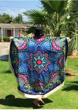 Mandala Flower Tassel Round Blanket