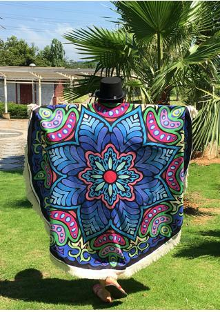 Mandala Flower Tassel Round Beach Blanket
