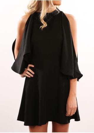 Solid Ruffled Off Shoulder Fashion Mini Dress
