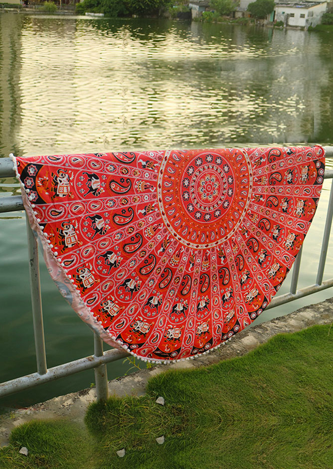 Mandala Paisley Elephant Round Blanket