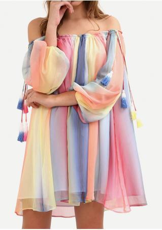 Multicolor Printed Off Shoulder Mini Shift Dress