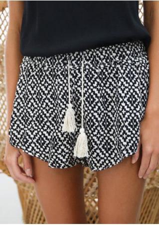 Printed Elastic Waist Casual Shorts