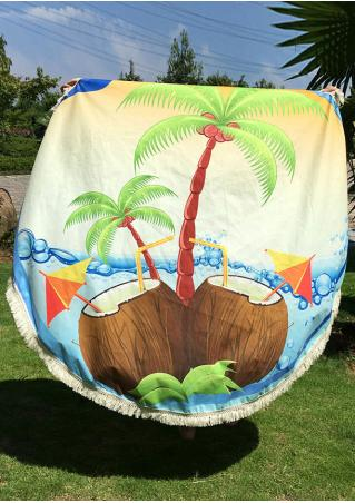 Coconut Tree Printed Round Beach Blanket
