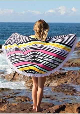 Multicolor Pattern Printed Round Beach Blanket