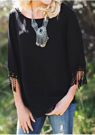 Solid Tassel Splicing Fashion Blouse Without Necklace