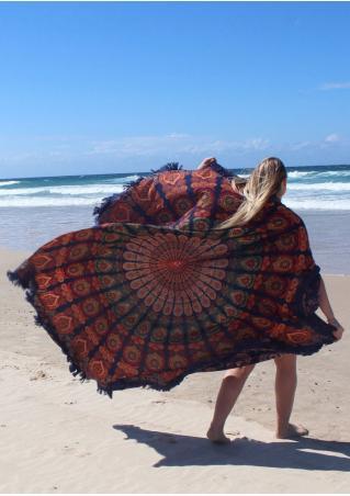 Mandala Peacock Floral Round Beach Blanket