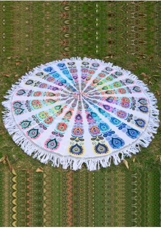 Multicolor Peacock Round Picnic Blanket