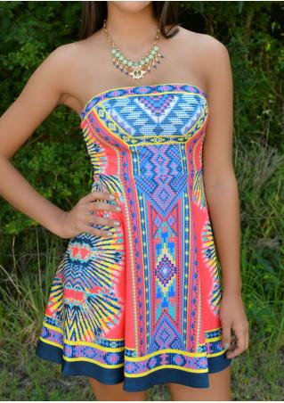 Ethnic Printed Mini Strapless Dress Without Necklace