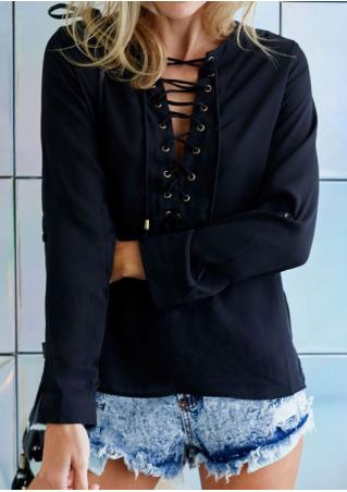 Solid Lace Up Fashion Blouse