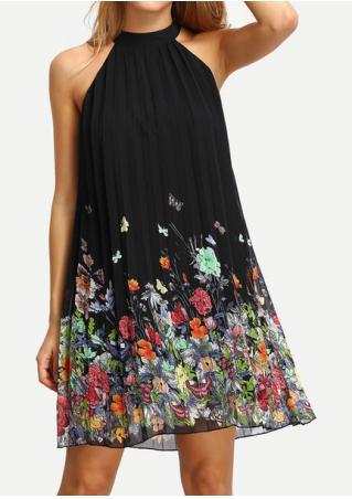 Floral Ruffled Sleeveless Fashion Mini Dress