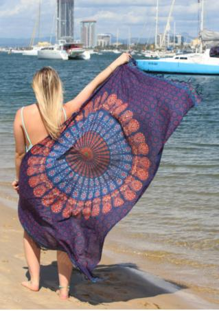 Mandala Peacock Printed Rectangle Beach Blanket
