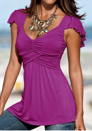 Solid Ruffled Deep V-Neck Chic Blouse Without Necklace