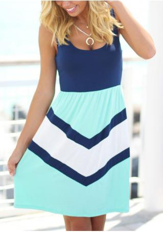 Color Block Sleeveless Mini Dress Without Necklace