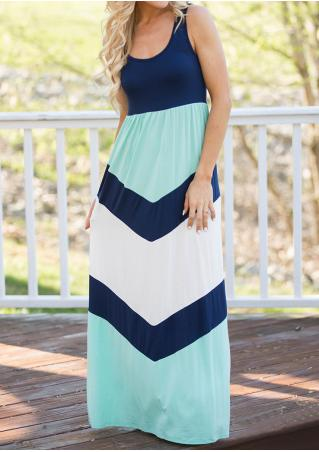 Color Block Maxi Dress Without Necklace
