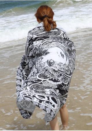 Floral Figure Printed Round Beach Blanket