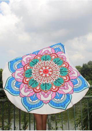 Mandala Lotus Flower Round Beach Blanket