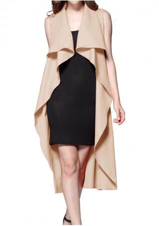 Solid Sleeveless Fashion Long Coat