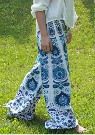 Mandala Printed Wide Leg Pants
