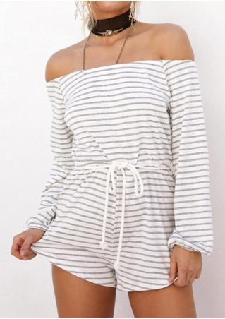 Striped Slash Neck Fashion Romper Without Necklace