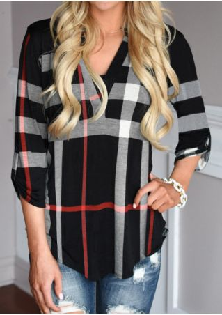 Plaid Irregular V-Neck Fashion Blouse