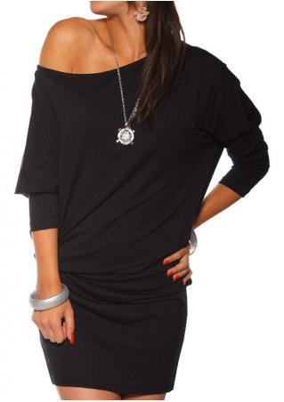 Solid Slash Neck Mini Dress Without Necklace