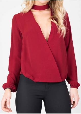 Solid Chiffon Long Sleeve Fashion Blouse
