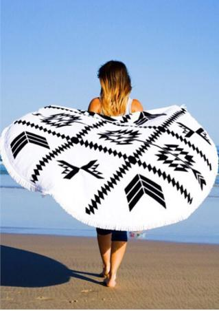Geometric Printed Round Beach Blanket
