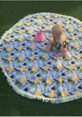 Pineapple Tassel Round Beach Blanket