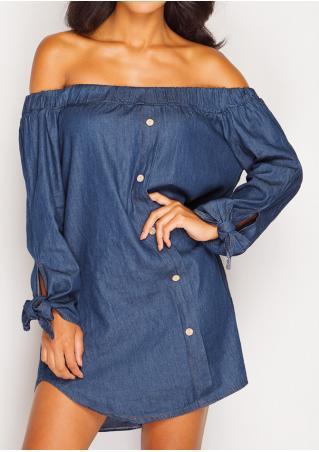 Solid Knot Off Shoulder Mini Shift Dress